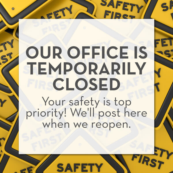 Announcement that Vero Dental is temporarily closed during the COVID-19 pandemic except for dental emergencies in Denver, CO