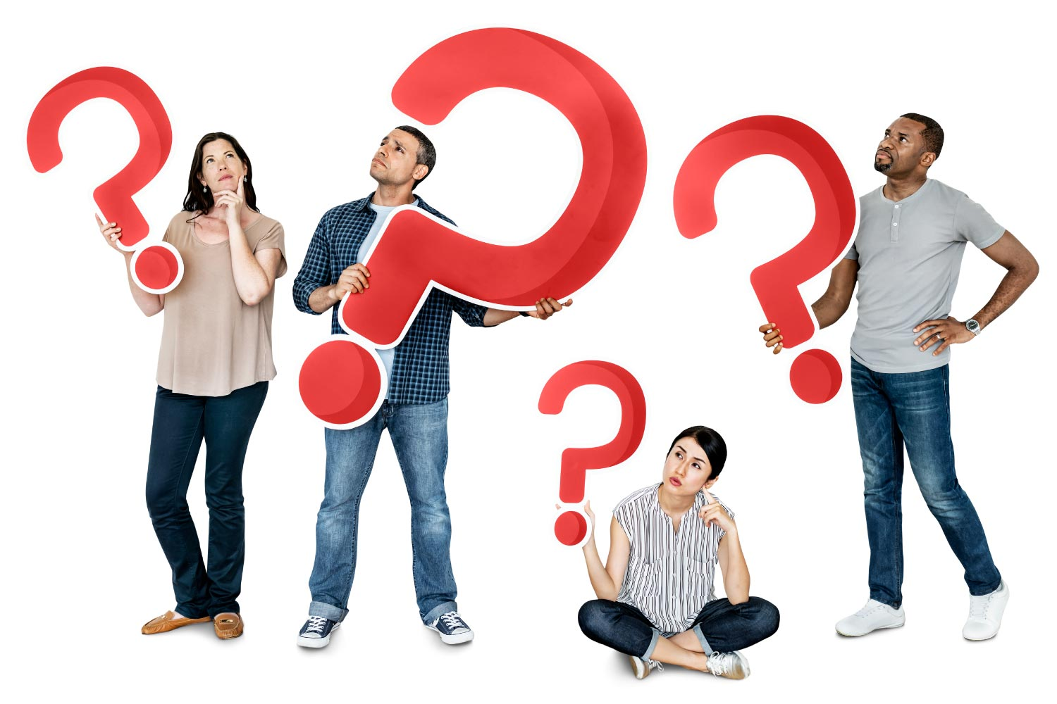 Diverse group of people hold up big red question marks as they think of questions to ask their dental hygienist